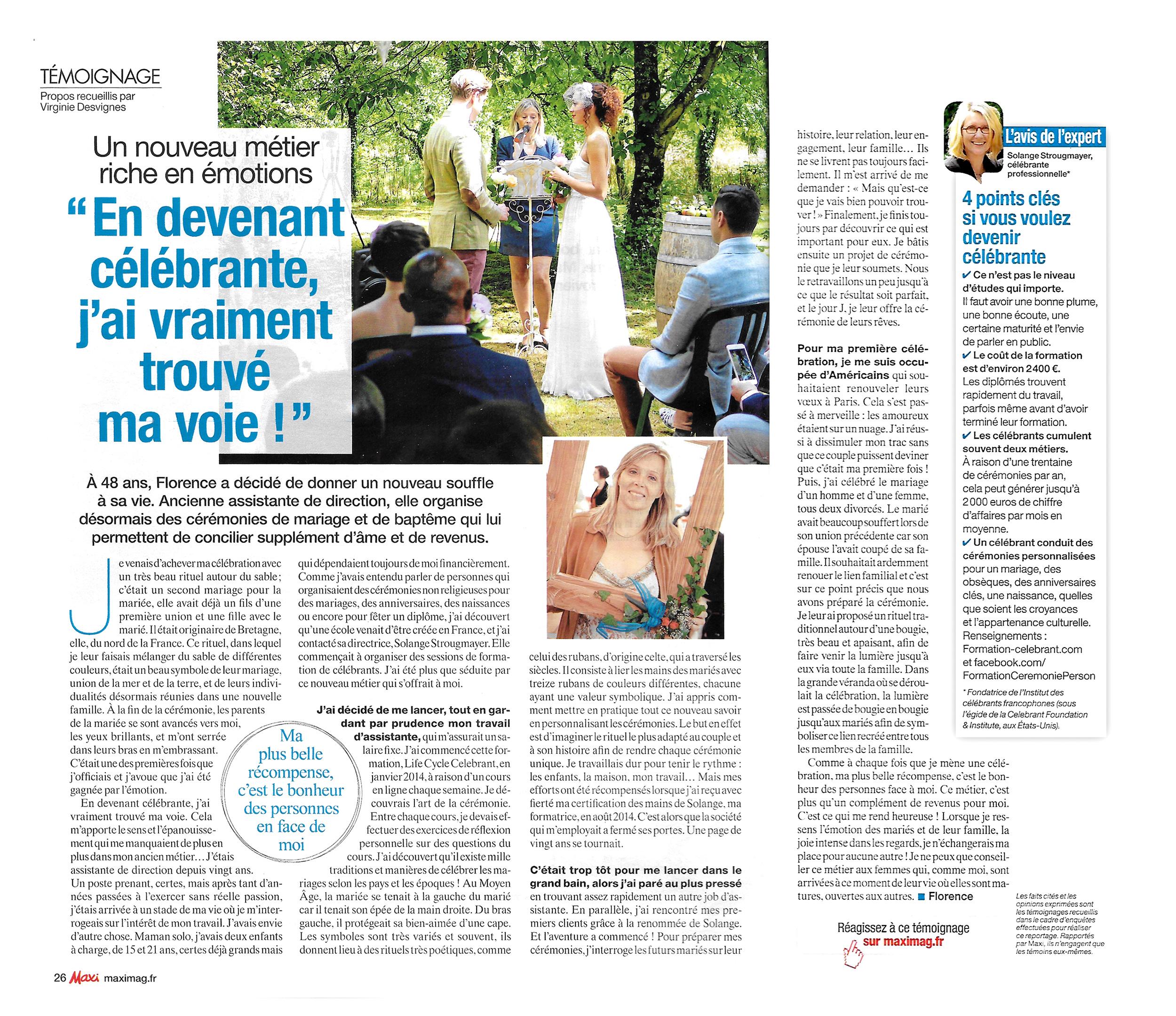 L'article sur les célébrants et les cérémonies laïques personnalisées du magazine Maxi